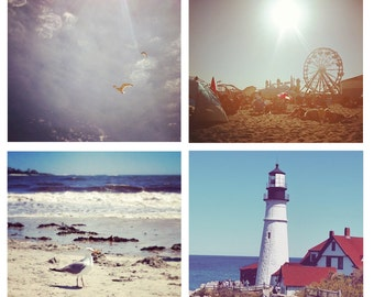 Photo Print Set 4 Square Maine Summer Beach Old Orchard Beach Lighthouse Portland Fine Art Photos