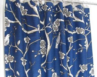 "Navy Blue Curtains, Custom Bird Theme Curtain Panels, Blue Floral Drapes, Custom Window Treatments, Navy Rod-Pocket Curtains One Pair 50""W"