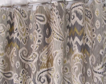 "Neutral Ikat Window Curtains, Grey Paisley Drapes, Trendy Window Treatments, Gray Neutral Drapery Panels, Rod-Pocket Curtains, One Pair 50""W"