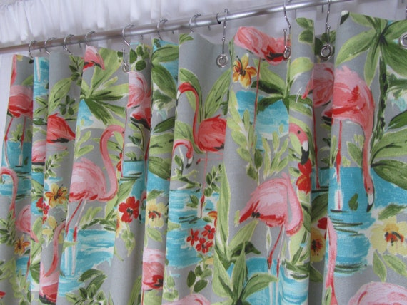 Retro Shower Curtain Pink Flamingo Shower Curtain Bird