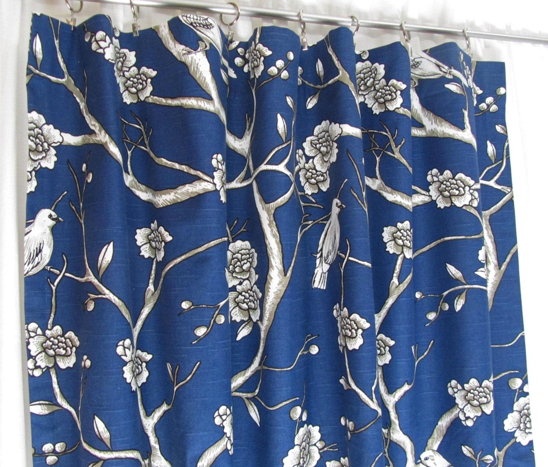 Blue moroccan curtains - Navy Blue Curtains Custom Bird Theme Curtain Panels Blue Floral Drapes Custom Window