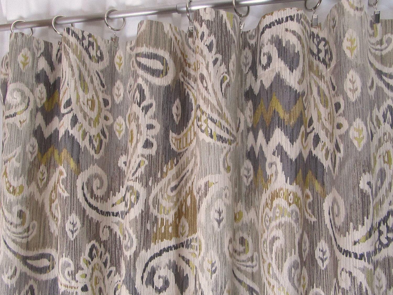 Neutral Ikat Window Curtains Grey Paisley Drapes Trendy