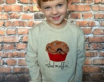 Boys Oatmeal long sleeve tee shirt Size 2T thru 4T with Stud Muffin embroidery design Tee Shirt embroidery line from Figtreebroutique