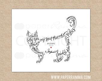 Cat wall art, cat portrait, Hand drawn, custom pet print // Giclée Art Print or Canvas Print // H-A03-1PS AA3