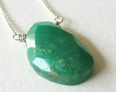 Rose Cut Chrysoprase Necklace - Sterling Silver Jewelry - Light Green Natural Gemstone