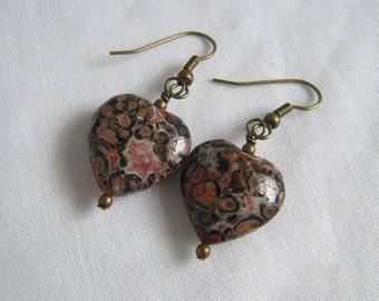 Leopard Skin Jasper Earrings, Heart Stone Earrings, Earthy Tone Jewelry