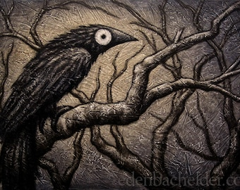 "Black Bird XXXIV original mixed media painting on canvas by Eden Bachelder, 24"" x 36"", raven, crow, grackle, edenbee"