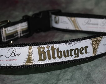 Adjustable Dog Collar from Recycled Bitburger Beer Labels