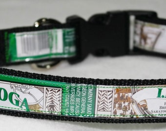 Adjustable Dog Collar from recycled Saratoga Brewing IPA Beer Labels