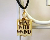 GONE WITH the WIND Scrabble Pendant with Satin Cord / Beaded / Charm / Book Lover Gift / Margaret Mitchell