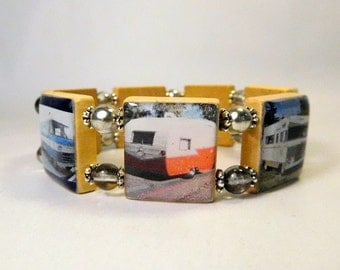RV Travel SCRABBLE Bracelet / Vintage Trailers / Going Away Gift / Handmade Jewelry