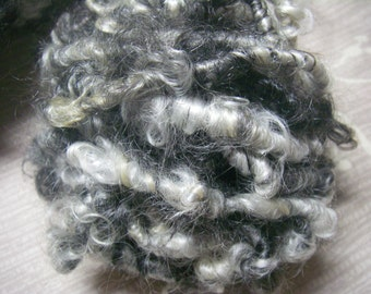 Handspun Corespun Soft Curly Bulky Weight Mohair Art Yarn in Natural Black and White by KnoxFarmFiber for Knit Crochet Weave Felt
