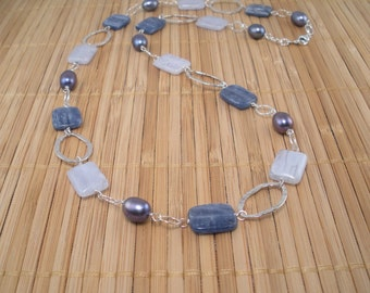 Kyanite Necklace Silver Necklace Long Necklace Chunky Blue Necklace Beaded Sterling Silver Chain 3 Blues Necklace Denim Blu Stone Blue Pearl