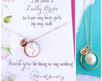 Personalized pearl necklace, Bridesmaid gifts, Bridesmaid necklace, Bridal jewelry, Initial necklace, message card, wedding jewelry, otis b