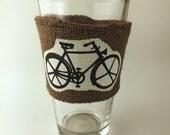 Coffee Sleeve Bike Beer Pint Glass Reusable Cup Sleeve Brown Burlap Wedding Favor