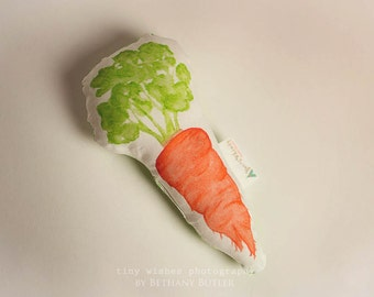 Watercolor Carrot Plush Baby Rattle