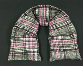 Flannel Corn Heating Pad, Flannel Neck Warmer, Neck Heating Pad, Heated Neck Wrap, Spa Gift - Pink Gray Plaid Flannel
