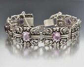 Antique Silver Amethyst Bracelet, Arts and Crafts Bracelet, Sterling Silver Art Nouveau Bracelet, Amethyst Gemstone Anniversary Gift