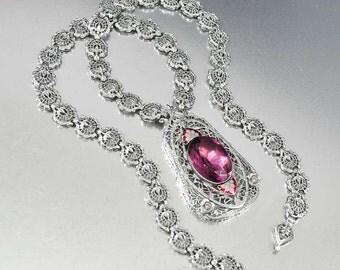 Art Deco Amethyst Necklace, Silver Filigree Crystal Pendant Rhinestone Necklace w Enamel, Edwardian Antique Jewelry, Art Deco Jewelry