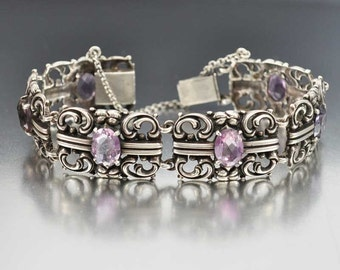 Amethyst Bracelet, Silver Art Deco Bracelet, Vintage 1910s Art Deco Jewelry, Antique Jewelry, Art Nouveau Jewelry, Birthstone Bracelet