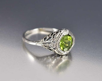 Peridot Engagement Ring, Silver Filigree Ring, Peridot Ring, Birthstone Ring, Edwardian Engagement Style Jewelry, Promise Anniversary Ring