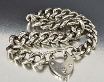 Victorian Bracelet, Puffy Heart Charm Bracelet, Heart Padlock, Curb Chain Charm Bracelet, Sterling Silver Bracelet, Antique Jewelry