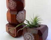 Geometric Wood Doily Planter Red Cedar