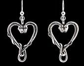 Snake Earrings - Heart Earrings - Viper Valentine Earrings - Snake Jewelry Serpent Jewelry Valentines Day Gift Valentines Day Jewelry Gift