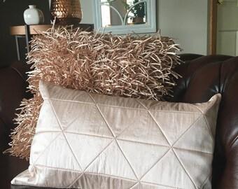 Raw Silk Triangles in Blush Cushion
