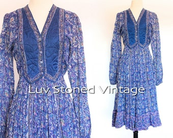 Vintage 70s Interlinks Blue Indian Vest Boho Hippie Cotton Gauze Gypsy India Festival Midi Dress | XS -S | 1117.9.21.15