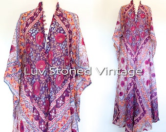 Vintage 70s Naqui Pakistan Cotton Gauze Caftan Hippie Kaftan India Indian Festival Gypsy Maxi Dress | SML | 1127.9.22.15