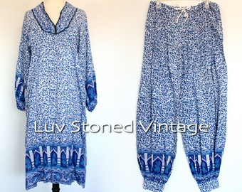 Vintage 70s Indian Dress Pant Tunic Set Tent Cotton Boho Hippie India Ethnic Festival Midi Dress | SM | 1131.10.12.15
