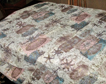 "Great Drapery Panel, Bark Cloth, Abstract, Taupe, Pink, Teal, Gold Accents, 1950's, 36"" x 67"""