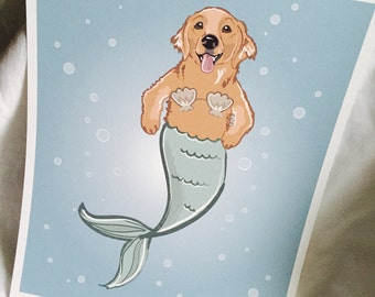 Mermaid Golden Retriever - Eco-Friendly 8x10 Print