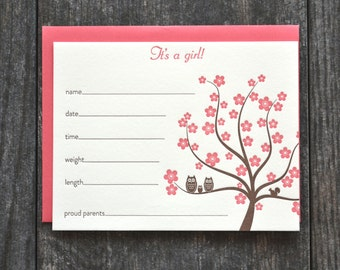 Owls birth announcement fill in the blanks - set of 5 - chocolate brown and strawberry pink