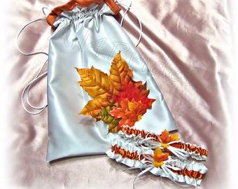 Burnt orange Fall leaves wedding bridal garters and drawstring bag.  Fall wedding accessories.