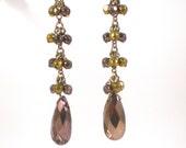 Tear Drop Glass Earrings  Gold And Copper Metallic Pierced Vintage jewelry