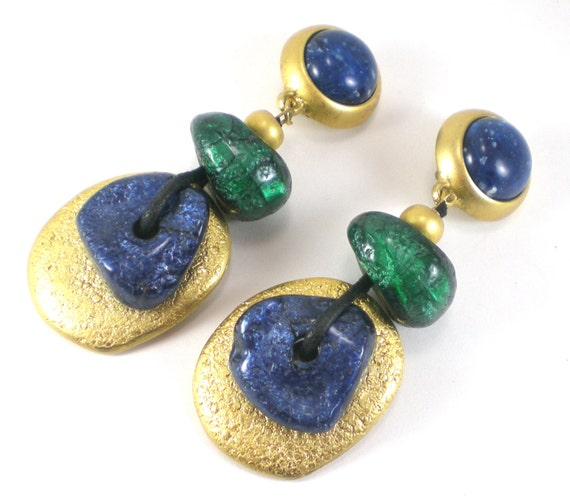 Chunky 70s Boho Hippie Clip On Earrings Cobalt Blue Green And Gold Resin Vintage Jewelry