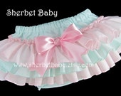 Pink & Seafoam Classic Style Sassy Pants Original Ruffle Diaper Cover Bloomers