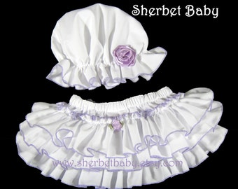 Classic Sassy Pants Set Ruffle Diaper Cover & Bonnet White with Lavender