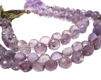 Pink Amethyst Beads, Pink Amethyst Briolettes, Luxe AAA, 7mm to 8mm, Onion Briolettes, Febuary Birthstone, SKU 4342A