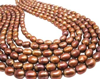 Copper Freshwater Pearl Beads,  Copper Pearls, Potato Shape, SKU 4657