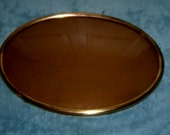 FRAME Brass Oval Convex Bubble Glass Large Antique