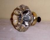 Antique GLASS Pull Knob Handle vintage HARDWARE crystal flower brass collar furniture door drawer wall