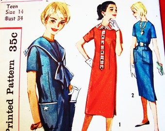 1950s Dress Pattern size 14 UNCUT Nautical Dress Sailor Collar, Sailor Dress Vintage Sewing Pattern