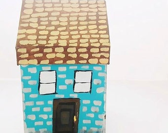 Big Little Blue House  - Jewelry Box, Treasure Box, Candy Box, Knicknack, Handpainted Box, Paper mache Box, Blue, Gift Box, Turquoise Decor