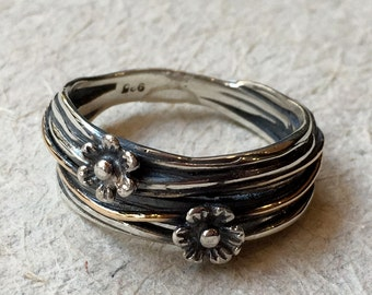 Sterling silver band, wire wrap band, oxidised band, floral band, boho ring, bohemian ring, floral ring, simple band - Two Flowers R2372