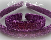 Doll and Me Holiday Hot Pink Glitter Ribbon wrapped Headbands.... Finished and ready to ship!