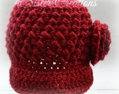 Newsboy Cap Red Oche Size Teen-Adult Made and Ready to go!!