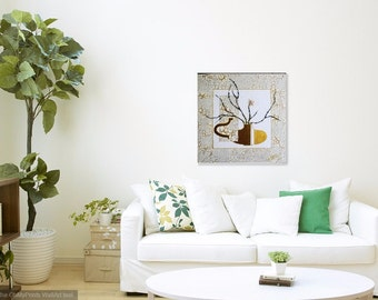 Art...Painting...Wall Decoration...Contemporary Painting..Modern Art Painting..Home Decoration..Acrylic On Canvas...Cherry Blossom